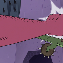 S4E22 Giant fist punches Quirky into the wall.png