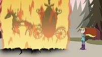 S4E25 Tom's carriage wrapped in flames again