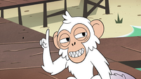 S4E2 Monkey flicks away its fake mole