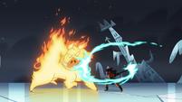 S4E5 Brunzetta swings axe at fire demon