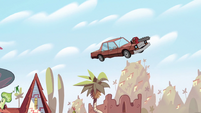 S2E36 Miss Heinous' car takes off into the sky