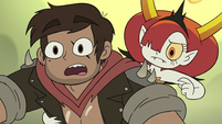 S3E22 Hekapoo pointing at a cliff ahead