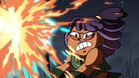 S4E5 Brunzetta shields herself from the fire