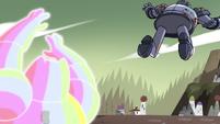 S4E33 Rainbow Kaiju tosses Solarian Warrior away