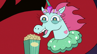 S3E10 Pony Head excitedly eating popcorn