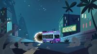 S1E10 Party bus skids toward the portal