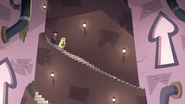 S3E14 Star and Marco going down a long staircase