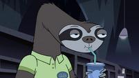 S4E11 Quest Buy sloth still slurping his drink