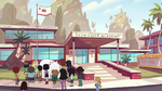 S2E38 Star and students outside Echo Creek Academy