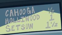 S1E10 Cahooga-Holliwood-Setsun highway sign