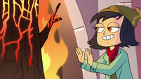 S3E25 Janna warming up by the burning stump