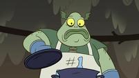 S2E12 Buff Frog looking at his tadpoles