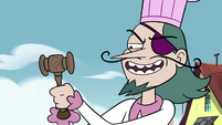 S4E2 Pie King attaches gavel to his wrist