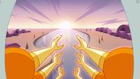 S3E23 Mewberty Star flying toward a sunrise