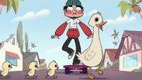 S2E39 Marco Diaz skates toward a family of ducks