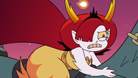 S3E22 Hekapoo riding the dragon-cycle away from Star