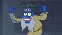 S4E17 Glossaryck pointing at his leaf hat