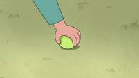 S4E30 Janna picking up a tennis ball