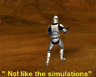 Just Like The Simulations Star Wars Memes Wiki Fandom Battlefront the screenshot used features the standard soldier class clone trooper running on the geonosis map with the caption just like the simulations. just like the simulations star wars