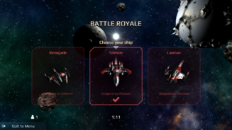 The Battle Royale ship selection screen