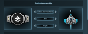 Single Lasers and zinc skin on the ship (defalt)