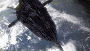 ZPM-es Kaptárhajó a Föld felett