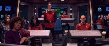 Captain John Harriman and his bridge crew (2293).
