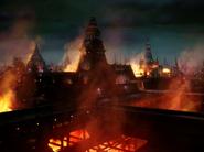 Qo'NoS burning during the Klingon Civil War