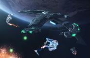 Chel Grett battlecruiser in battle