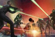 Breen charging Starfleet & Klingons