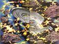 Voyager grapples talaxian ship