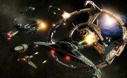 Klingon fleet attacking Deep Space 9