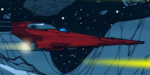 Anakin Skywalker's red Delta-7B Aethersprite-class light interceptor