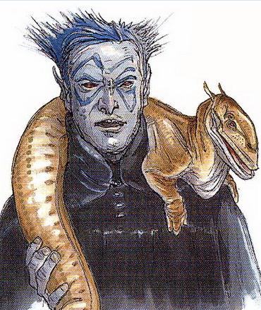 Unidentified blue-skinned exhibitor
