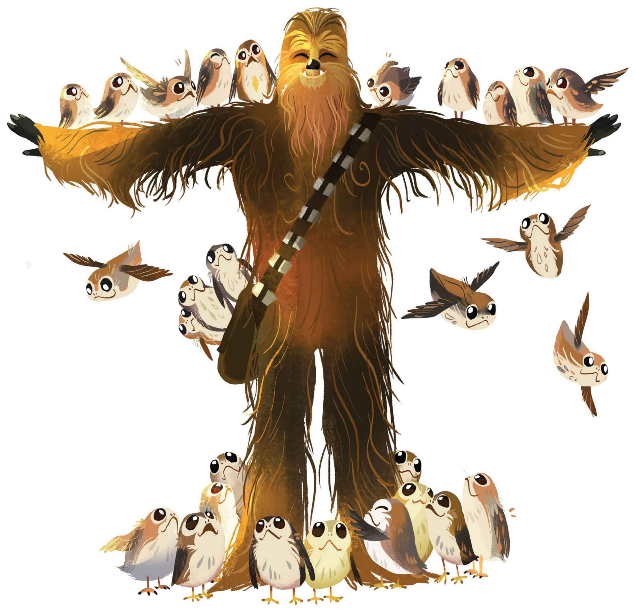 Chewie and the Porgs - Chewbacca with Porgs.jpg