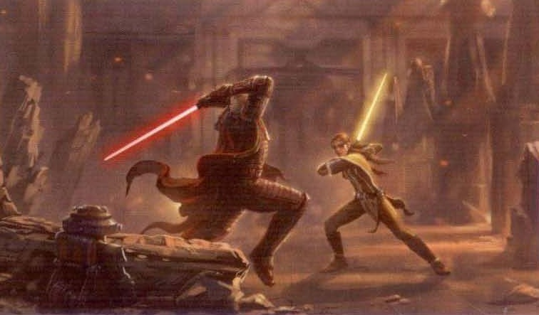 Duel in the ruins of the Jedi Temple