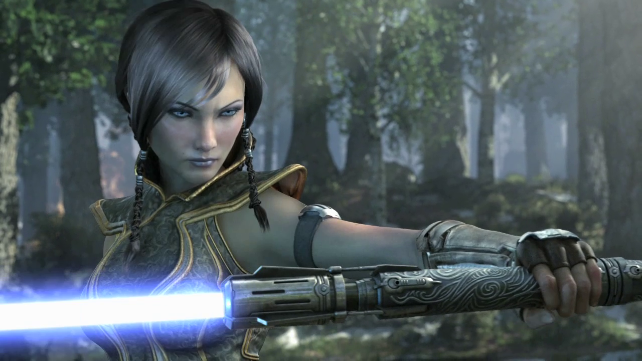 Satele Shan's second double-bladed lightsaber