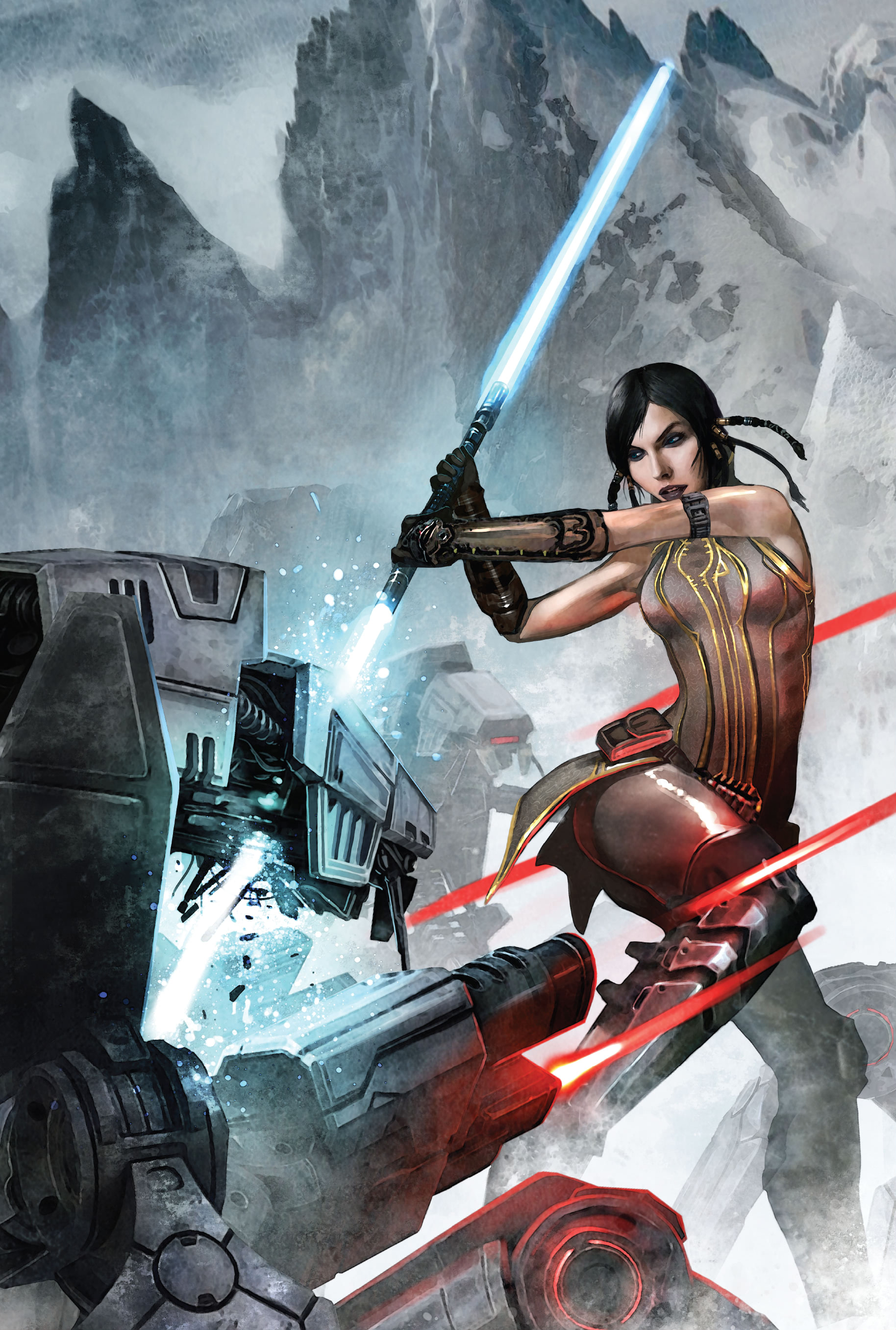 Satele Shan's third double-bladed lightsaber