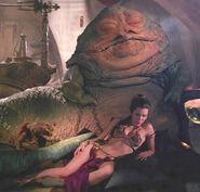 Leia sleeps by jabba