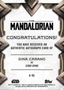 GinaCaranoAsCaraDune-TheMandalorianS1-Signature-back