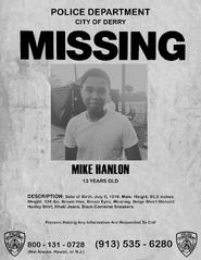 Mike Hanlon Missing Poster