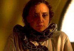Barbara Lang with a snake