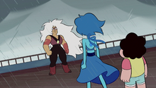 Jasper stares angrily at Lapis and Steven, whose backs are to the viewer.