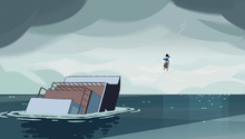 Lapis flies away from the sinking ship with Steven on her back and Greg in her hands.