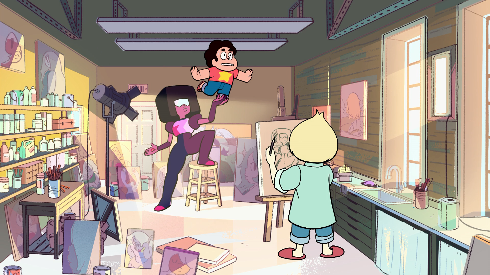 Garnet & Steven Get Painted & Chase a Cat