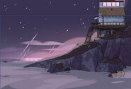 Beach House Side View Night Background