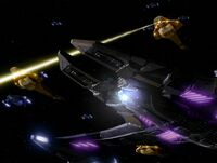 Dominion ships during the battle
