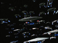 The Federation fleet advances to engage the Dominion