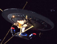 The USS Galaxy fires on a Cardassian orbital weapon platform.