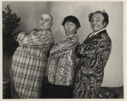 The final incarnation of the Three Stooges. A promotional picture taken in 1975 (after Larry Fine's death): (L to R) Curly-Joe DeRita, an ill Moe Howard (who died shortly thereafter) and Emil Sitka.